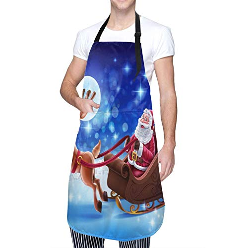 Adult Size Adjustable Bib Merry Christmas Santa Clause Reindeer Under The Full Moon Apron Extra Long Ties with Tool Pockets for Gifts-Home Kitchen Baking