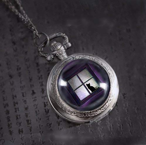 Reloj de bolsillo con diseño de gato negro sentado en la parte delantera de la ventana, joyería de...