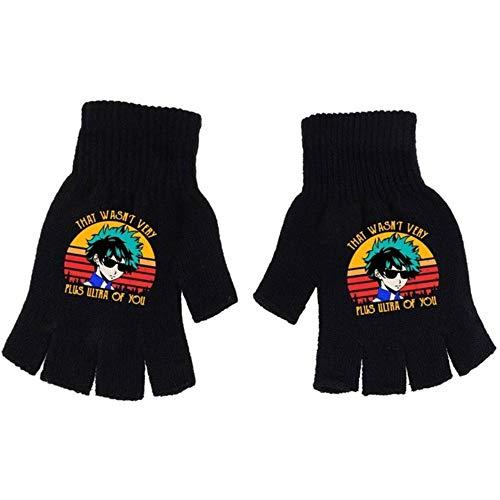 GZTCAP Handschuhe Anime My Hero Science Strickhandschuhe Halbfinger Jungen Mädchen Herbst Winter Warm Cosplay Unisex Schwarz Fisting Geschenk