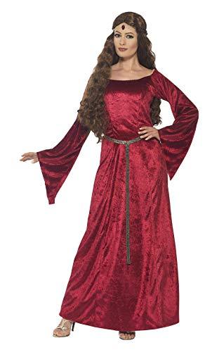 Smiffys Costume demoiselle médiévale, Rouge, avec robe et bandeau