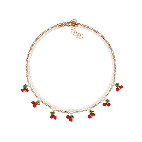 Weryffe Collar de imitación de cerezo perlado con colgante de clavícula, corto, elegante, exquisito, collar, gargantilla, joyería para mujer, accesorios de ropa