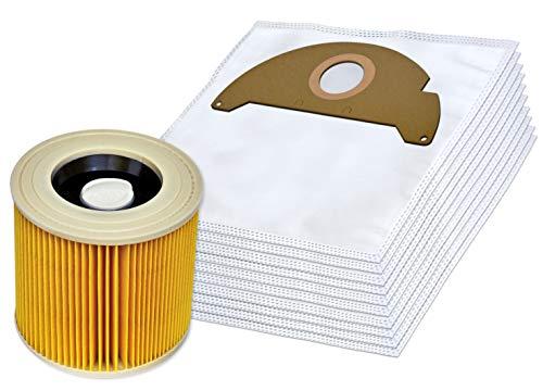 Invest 10 Staubsaugerbeutel + Filter geeignet für Kärcher A 2004, A 2024, A 2054, MV 2, 6.904-322 Staub-beutel Syntetisch