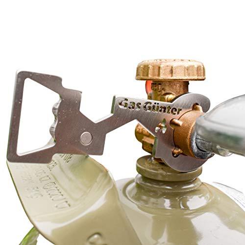 Gas Günter der Universal Gasflaschenschlüssel für 5 & 11 kg Flaschen (Camping, Caravan, Grill) - aus rostfreiem Edelstahl, entwickelt & hergestellt in Deutschland - NEU mit Magnet