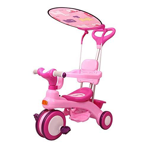 HYDDG Niñito Triciclo para 1,2,3 año Viejos - Todos en Uno Multifuncional Escenario Triciclo con Pabellón, Emprendedor Encargarse de y Crecer con Cabeza para 1-3 años Antiguo Niñito,Rosado