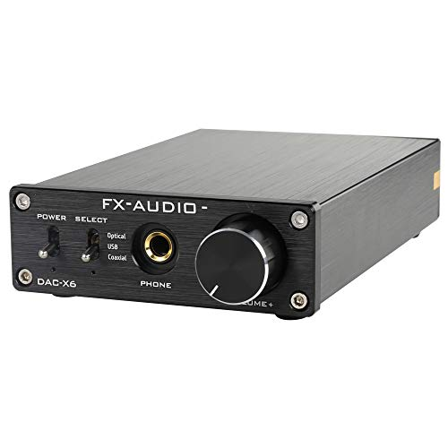 FX-Audio DAC-X6 Mini HiFi 2.0 Digital Audio Decoder DAC Input USB/Coaxial/Optical Output RCA/Headphone Amp 24Bit/96KHz DC12V (Black)