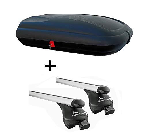 Dachbox VDP CA320 Relingträger Quick Alu kompatibel mit Nissan Qashqai ab 2014 bis Reling