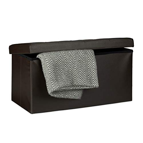 Relaxdays Faltbare Sitzbank 38 x 78 x 38 cm HxBxT, 2-Sitzer m. Stauraum, Kunstleder Sitzhocker 300 kg belastbar, braun