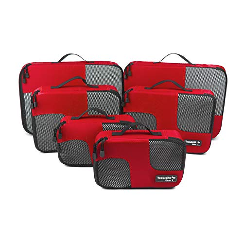 TraLight ® Packing Cubes | Packwürfel | Packtaschen | Kleidertaschen für Koffer, Reisetasche, Handgepäck, Rucksack, Sporttasche | 6 teiliges Set (Rot)