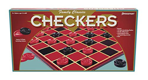 Family Classics Checkers -- With Folding Board and Interlocking Checkers by Pressman