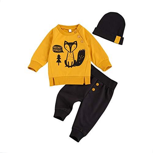 YQYJA Kleinkind Jungen Kleidung Sets Fuchs Print Langarm Sweatshirt Top Hohe Taille Hosen Hut 3-teiliges Set Gr. 6-12 Monate, marineblau