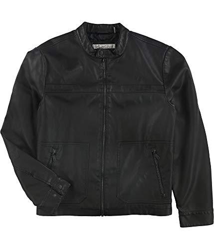 Kenneth Cole Mens Faux Leather Jacket, Black, Medium