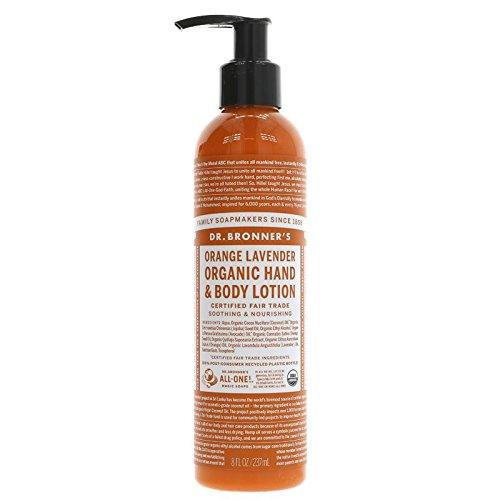 Dr. Bronner´s Bio Körperlotion Orange-Lavendel 240ml Flasche, aus kontrolliert biologischem Anbau, vegan, keine Zusatzstoffe, Fair Trade zertifiziert, aus natürlichen ätherischen Ölen