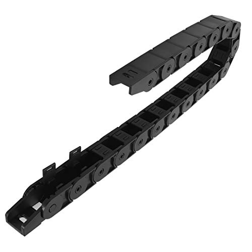 LMioEtool R38 18mm x 18mm(Inner H x Inner W) Black Plastic Cable Wire Carrier Drag Chain 1M Length for CNC, with End Connectors - Semi Enclosed Type (Inner Side openable)