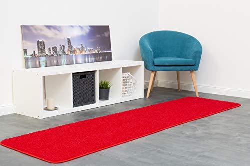 misento Shaggy Hochflor Teppich für Wohnzimmer Langflor, schadstoff geprüft 100 % Polypropylen, rot 67 x 250 cm