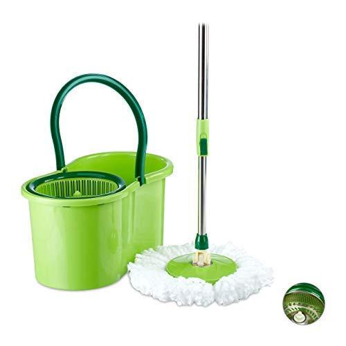 Relaxdays, Silber/grün Power Mop mit Eimer, Kunststoff Schleuder, Teleskopstange, weißer Ersatzkopf, HBT: 22x45x25 cm, Standard