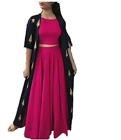 Md Textiles Rayon Kurti with Skirt and Shrug For Girls, Women, Ladies Pink (Medium)