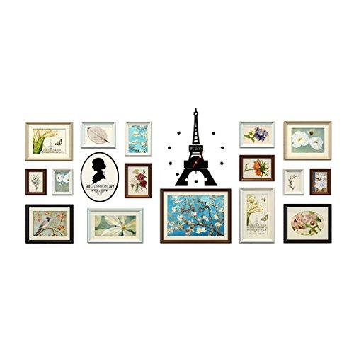Afbeelding frame European-stijl Solid Wood foto fotolijsten muur set, wandbehang combinatie foto wand, 16 stuks, 188 * 75cm muur decoratie