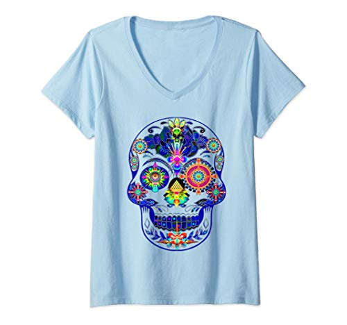 Mujer Ayahuasca DMT Setas psicodélicas Psilocibina LSD Trip Skull Camiseta Cuello V