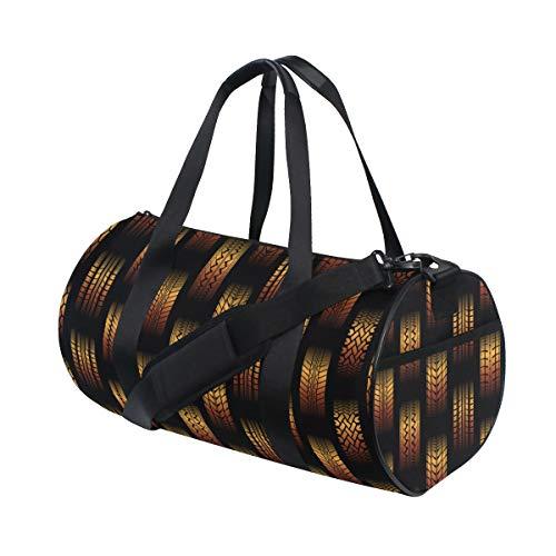 PONIKUCY Sporttasche Reisetasche,Orange Nahtloser Hintergrund unterschiedliche Reifen Bahn,Schultergurt Handgepäck für Übernachtung Reisen