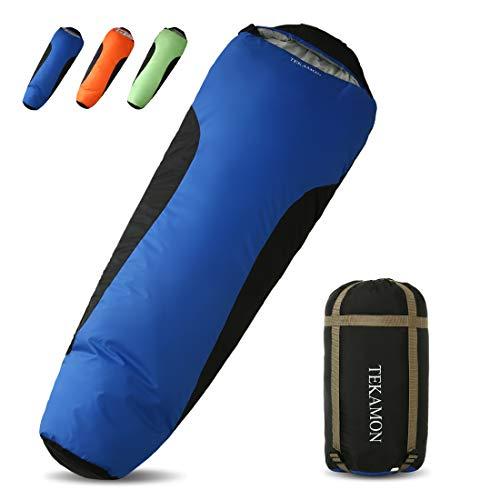 TEKAMON Mumienschlafsack Outdoor, Ultraleicht Schlafsack 3-4 Jahreszeiten, Trekking Camping für Erwachsene (blau/schwarz 210 * 80 * 50cm)