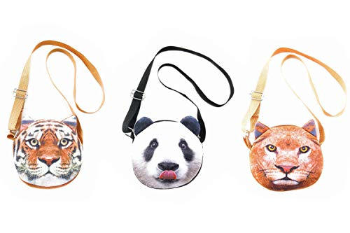 3 PCS Cute Animal Face Crossbody Shoulder Bags Set for Girls, Teens, Tween and Women - Photorealistic Vivid 3D Printed Faces - Zipper Closure - Adjustable - Great gifts and Party Favors (Wild Life 1)