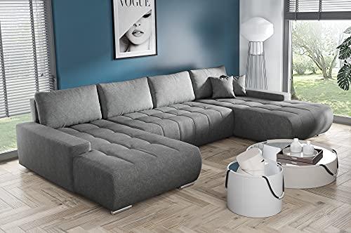 BELUTI - Sofá esquinero panorámico en forma de U Convertible, tela de diseño, cama + caja de almacenamiento (gris oscuro)