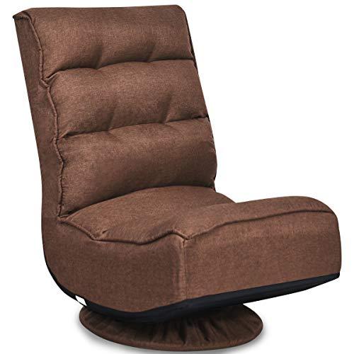COSTWAY Bodenstuhl 360°drehbar, Bodensessel mit 5-Fach Verstellbarer Rückenlehne, Game Sessel gepolstert, Bodensofa Meditationsstuhl bis 150kg belastbar, Lazy Sofa (Kaffee)
