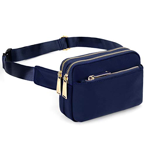 UTO-Fanny-Pack-for-Women-Belt-Bag Waterproof Nylon Fashion Slim Lightweight Waist Pack with 3 Zipper Pockets Blue