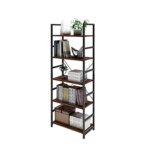 DAWNYIELD Estantería de 5 niveles industrial de madera, estante de metal, estante de almacenamiento, moderno estante de libros para dormitorio, sala de estar, hogar, oficina, vintage