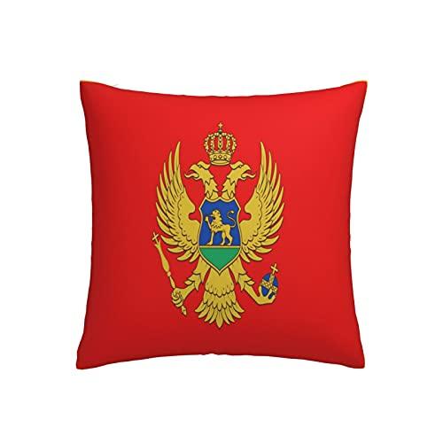 Kissenbezug Flagge von Montenegro, quadratisch, dekorativer Kissenbezug für Sofa, Couch, Zuhause, Schlafzimmer, Indoor Outdoor, niedlicher Kissenbezug 45,7 x 45,7 cm