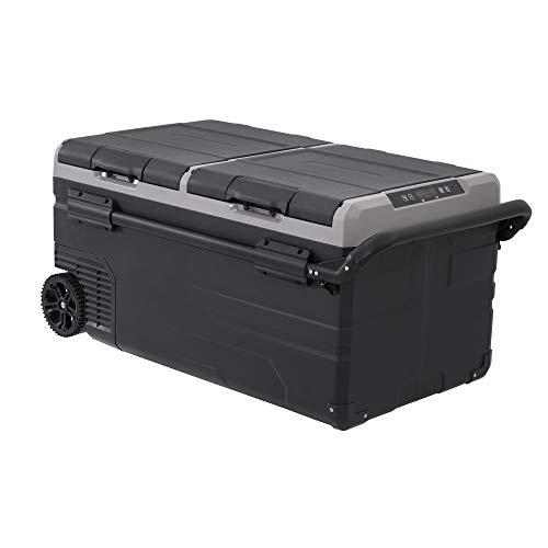 Alpicool Dual Temperature Control TWW95 Portable Refrigerator 100 Quart(95 Liter) Compact Fridge Mini Freezer for Travel,Camping,Fishing, Outdoor -12/24V DC