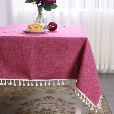 Mantel de Color sólido Algodón y Lino Borla Simple Mesa de Centro Cuadrada Mesa de Comedor Hogar Mantel de jardín Fresco 90 * 90 cm Rosa