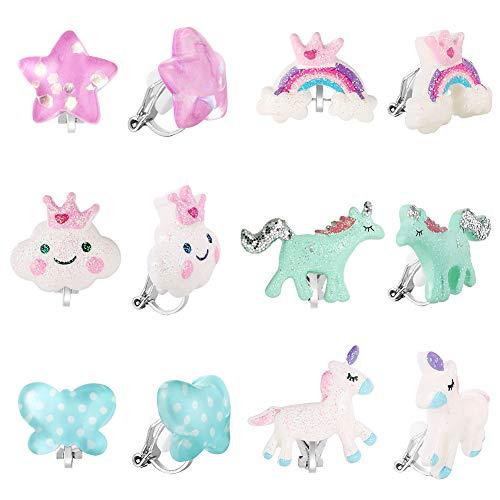PowerKing Ohrclips für Mädchen, Mädchenschmuck-Anziehohrringe und Prinzessin Play Ohrclips für Kinder, 6 Paare (Boucle d'oreille fille-Licorne)