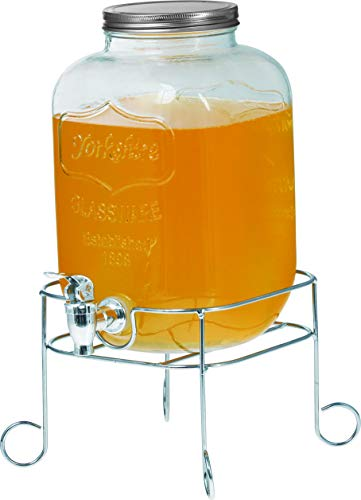 Hochwertiger Getränkespender aus Glas mit Schriftzug 4 Liter mit Zapfhahn Glasdeckel inkl. Getränkehalter