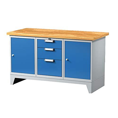 Certeo - Mesa de trabajo con 3 cajones, 2 armarios, 1500 mm de largo, mesa de trabajo, banco de trabajo, mesa multifunción, estación de trabajo