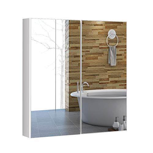 COSTWAY Armario de Baño Mueble con Espejo de Pared con 2 Puertas 2 Estante Gabinete de Almacenamiento Organizador