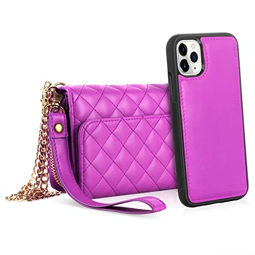 Petocase for iPhone 11 Pro Max Wallet Case, Multi-Function Zipper Purse with Detachable Magnetic Back Cover Wristlets 13 Card Slots & 4 Cash Pocket for Apple iPhone 11 Pro Max 6.5 Inch 2019 (Rose Red)