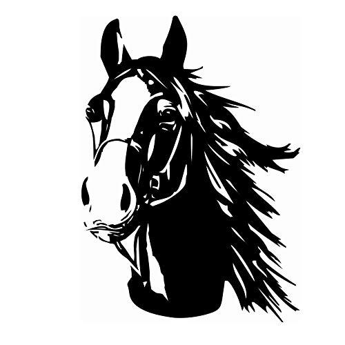 Finest Folia Aufkleber Pferd Pferdekopf Sticker für Auto Anhänger LKW Pferde Autoaufkleber Dekor Pferdemotiv Tiermotiv K039 (Schwarz Glanz, 30x21 cm)