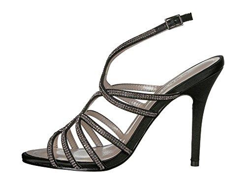 Caparros Helena Strappy Evening Sandals Black Satin 9M