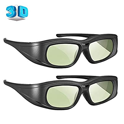 Elikliv Bluetooth 3D Glasses Active Shutter Rechargeable 3D Eyewear Compatible with Epson Sony LCD Projector/Sony Panasonic Samsung 3D Active TV (Pack 2)
