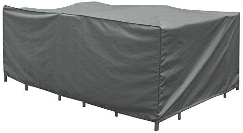 Greemotion beschermhoes rechthoekig voor zitgroep - afdekhoes tuinzitgroep grijs - loungeset dekzeil - tuinmeubelafdekking met trekkoord - weerbestendige hoes voor outdoor-meubels
