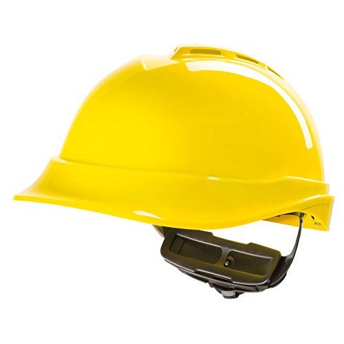 Casco de Protección MSA V-Gard 200 con Ventilación y Ajuste por Trinquete FasTrack - Casco de Trabajo Casco de Seguridad Casco de Construcción, Color: Amarillo