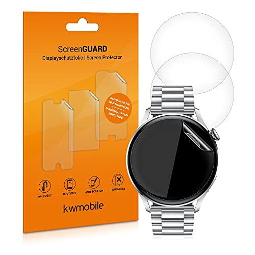 kwmobile Protectores de Pantalla compatibles con Huawei Watch 3 / Watch 3 Pro - Set de 3X Protector de TPU Transparente