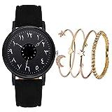 JZDH Relojes para Mujer MERSCA Moda Moda Pequeña y Delicada Belleza Europea Simple Pulsera Casual Reloj Traje Pulsera Set Reloj Mujer Relojes Decorativos Casuales para Niñas Damas (Color : Black)
