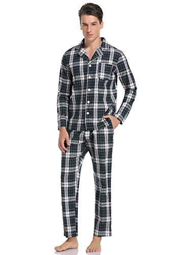Hawiton Pijamas Hombre Invierno Algodón Pijama Manga Larga Hombres de Cuadros Pantalones Largo