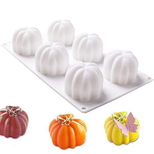 ANUNU Silicone Molds Baking for Mousse Cake, 3D Baking Molds Dessert Molds for Pastry Truffle Pudding Jelly Cheesecake, Halloween Pumpkin Shape, 6-Cavity
