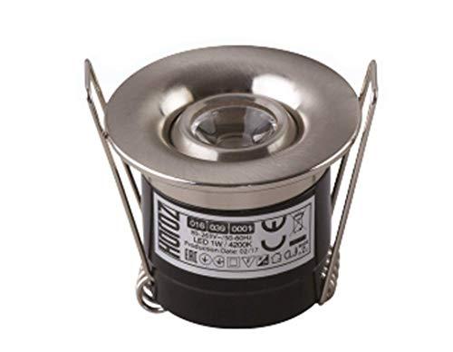 Mini LED 1W Einbaustrahler 20° Grad Schwenkbar Ø40mm Rund Neutralweiß Spot Einbauleuchte 70 Lumen Deckenleuchte Chrom