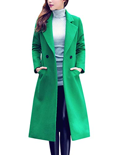 Tanming Women's Notch Lapel Double Breasted Wool Blend Mid Long Pea Trench Coat (Green, Large)