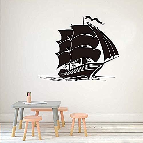 Art Muurstickers Schip Muurstickers Vinyl Afneembare Woondecoratie Kinderen Slaapkamer Muurstickers Bloem Zee Boot Interieur Decoratie 73X58Cm