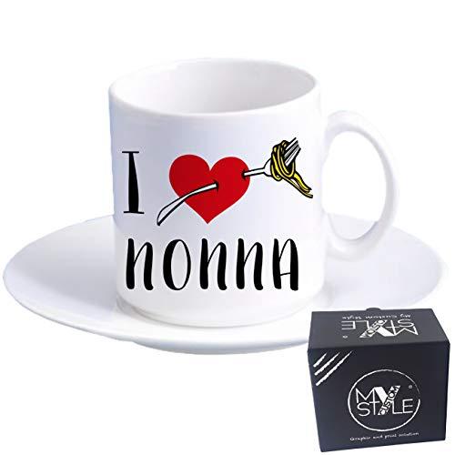 Mijn Custom Style koffiekopje Espresso+schotel#Nonni-I Love nonna#60x57mm